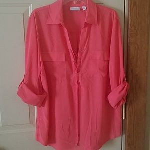 NWOT NY & Co Coral lace up blouse